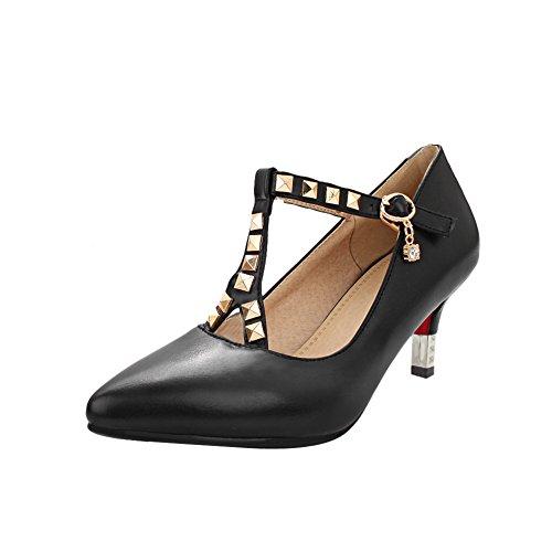 MissSaSa Damen high-heel Pointed Toe T-Spange Pumps mit Nieten und Strass Schwarz