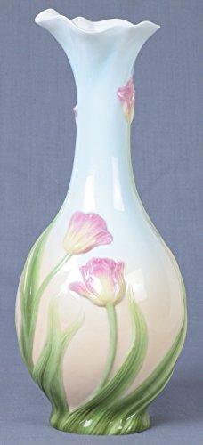 10.5 Inch Blue and Pink Glazed Porcelain Tulip Bud Vase Fluted Mouth
