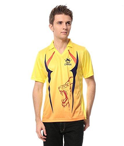 T10 Sports Chennai Fan Jersey for Men | Yellow Mandarin Collar