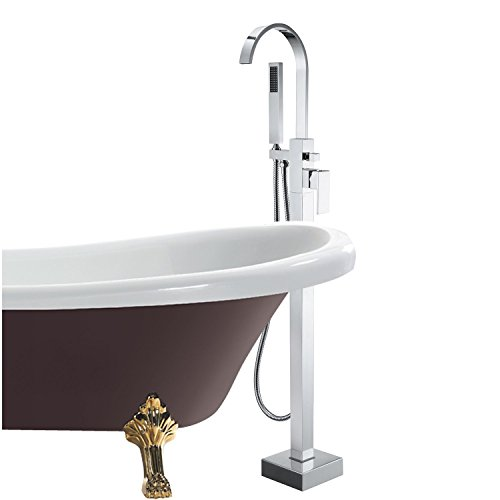 COMEONLIGHT Stainless Steel Silver Finish Freestanding Bathtub Filler Faucet Chrome Finish with Diverter and Hand Shower Gooseneck Spout Floor Mount Filler (Ceiling Mount Tub Filler compare prices)