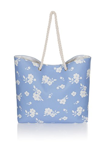 Tela Varioues Shopper Estiva Donna In Borsa Grande Spiaggia Fiori Blu Stili q070R