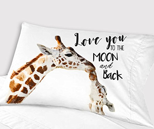 Personalized Big Giraffe Little Giraffe Love You to the Moon and Back Pillowcase (Standard) by Kids-Pillowcases-By-Stockingfactory