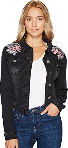 Romeo & Juliet Couture Women's Embroidered Denim Jacket Black Medium ()