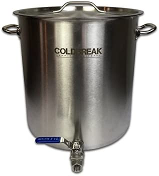 Coldbreak 10 Gallon Brewing Kettle 40 Quart with Ball Valve, Stock Pot, Stainless Steel with Aluminum Core Bottom Tri-clad , Heavy Duty, Includes Lid