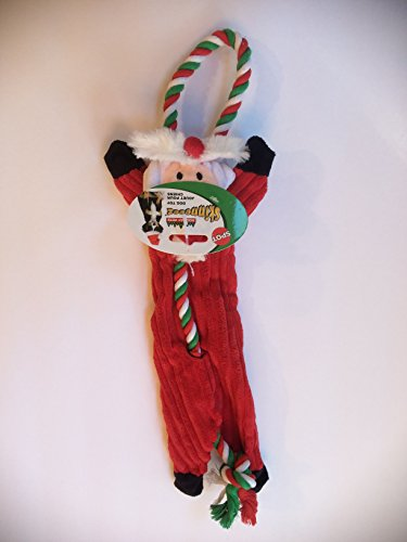 18 Inch Dog Holiday Christmas Corduroy Skinneeez Tug Rope Santa With Squeaker By (Skinneeez Rope)
