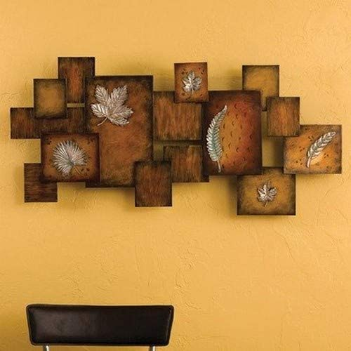 Southern Enterprises Faux Fossil Leaves Abstract Wall Art Panel – 3D Sculpture – Unique Design