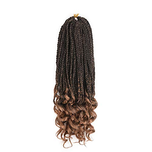 REFINED HAIR 6Packs 18Inch 3S Wavy Box Braids Crochet Braid Hair Extensions 22roots Ombre Kanekalon Synthetic Goddess Box Braids With Wavy Free End Crochet Braids (18inch,T27)