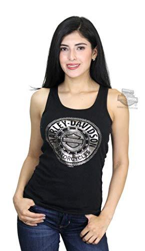 Harley-Davidson Womens Chrome Circle B&S Studded with Foil Print Black Tank (Large)