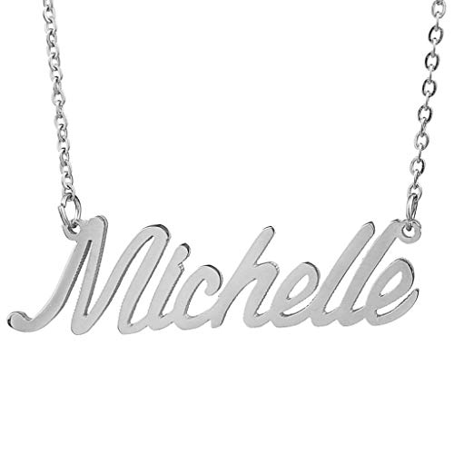 AIJIAO Steel Script Nameplate Name Necklace Personalized Choker Women Gift/Michelle Silver