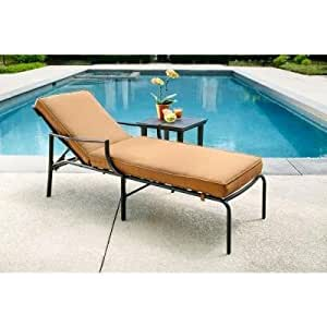 Oak Heights Patio Chaise Lounge With Cashew Cushions Patio Lawn