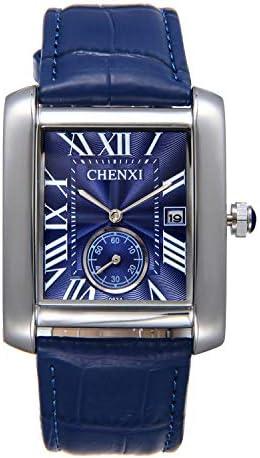 Men s Retro Square Face Japan Quartz Calendar Watch Black Leather Independent Second Dial Dress Wrist Watches
