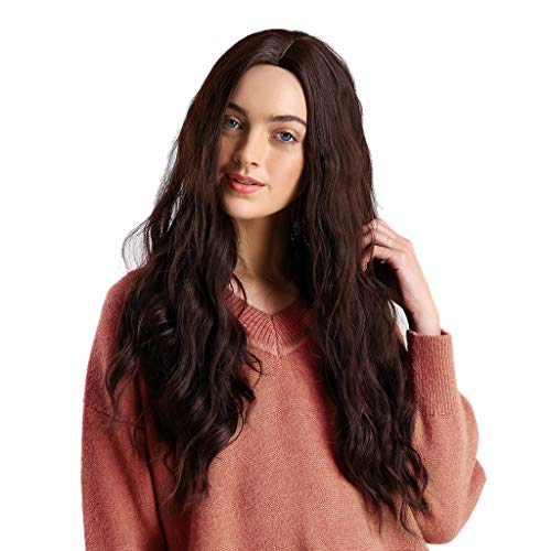 Karymi Women Wigs, Natural Party Cosplay Long Wave Wig Mix Colors Curly Wavy Synthetic Hair Brown]()