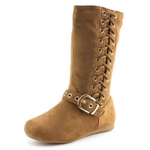 (Link Girls Side Zipper & String Faux Suede Slouch Boots, Tan, 11 M US Little Kid)