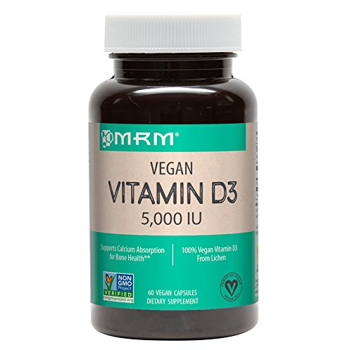 MRM - Vegan Vitamin D3, Meets Calcium & Bone Health Needs, Vegan & Vegetarian Approved (5000IU 60 Count)