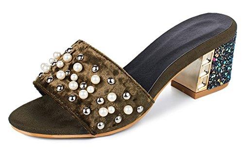 Aisun Womens Unico Con Perline Tempestato Open Toe Slip On Block Tacco Medio Sandali Con Tacco A Spillo Verde Militare
