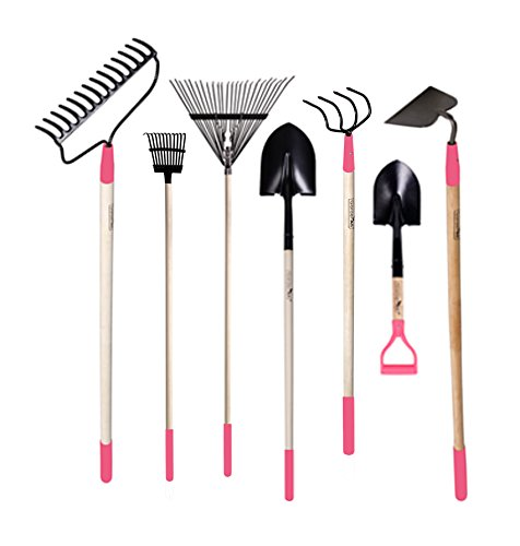 GardenAll 7-Pieces Women Garden Tools Set- Include 14Tine Bow Rake/ 11T Steel Rake / 24T Steel Rake / Round Point Shovel /4 Tine Cultivator / Mini Round Point Shovel / Forged Garden Hoe - Rakes And Shovels