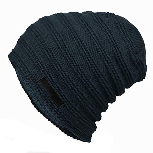 Chibi-store-hat Mens Striped Knitted Winter Hats Oversized Long Baggy Beanie Fleece Lined Black Gray Navy Dark Red,Navy (Dlc Skate 3)