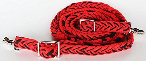 PRORIDER Roping Knotted Horse Tack Western Barrel Reins Nylon Braided RED Black 60794