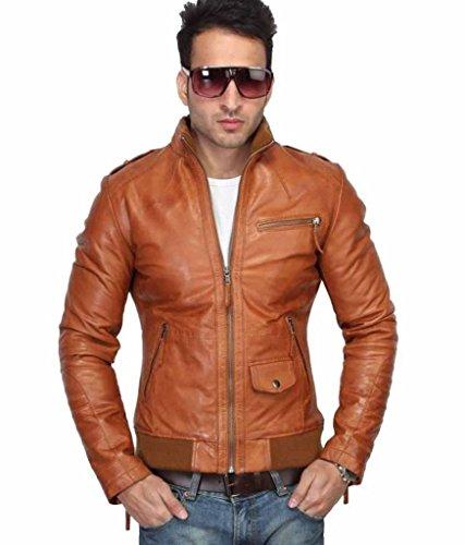 Western Leather Men's Lambskin Leather Jacket Small Cognac