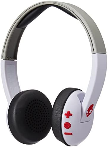 Skullcandy Uproar Bluetooth Wireless On-Ear Headphones with Built-In Microphone and Remote, 10-Hour Rechargeable Battery, Soft Synthetic Leather Ear Pillows for Comfort, White Gray Red