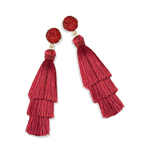 (Statement Tassel Earrings for Women Drop Dangle Handmade Tiered Thread Layered Bohemian Beach Party Girl Novelty Fashion Summer Accessories - E3 Wine Red)