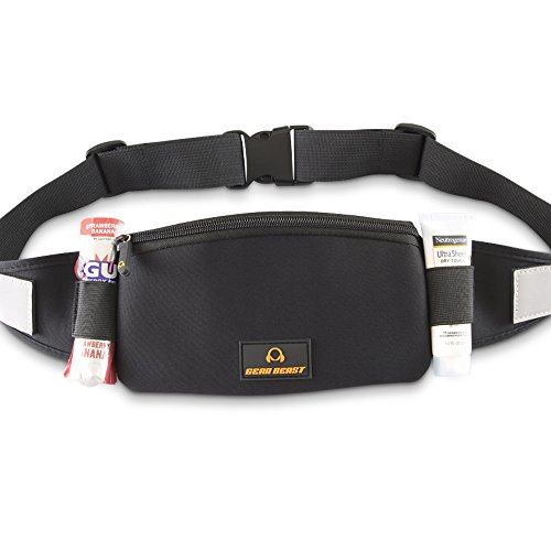 Gear Beast Travel Belt Fanny Pack Waist Bag. ID, Key, Wallet and Passport Holder, Adjustable Sport Running Pack Holds Cell Phones Including iPhone X 8 7 6 6s Plus Galaxy S7 S6 Edge S8 Plus Note 8 5