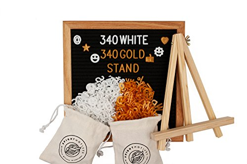 Black Felt Letter Board 10x10 Inches, Oak Frame, 680 Plastic Letters, Numbers, Punctuations, Emojis and Other Symbols (340 White, 340 Gold), 2x Letter Storage Bags, Wall Hanger and a Wooden Stand