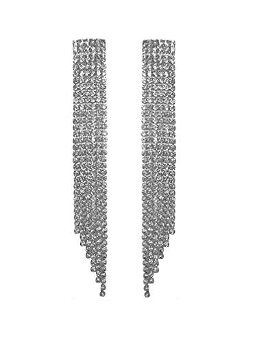 (Clip-On and Pierced Earrings Extra Long Art Deco Great Gatsby Flapper Statement Gun Metal Black Rhinestone Crystal Chandelier Long Drop Earrings for Women Wedding Bridal Prom Debut (Silver Clip-Ons))