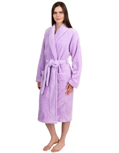 TowelSelections Women's Super Soft Plush Bathrobe Fleece Spa Robe Large/X-Large Lavender