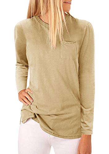 (Mafulus Womens Long Sleeve Crew Neck Tunic Tops Casual Loose Fit T Shirts with Pockets)