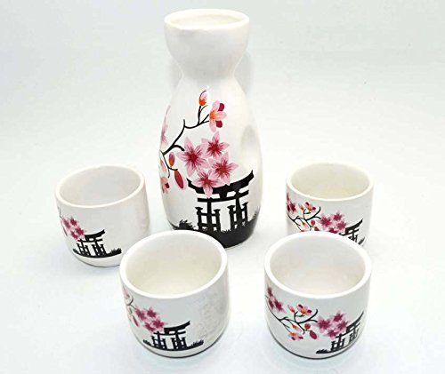 Wine Pot & Cups Set, for Japanese Wine Sake, wine bottle & cup collection (Temple) by Palmetto Housewares