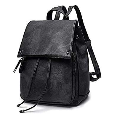 Oweisong Fashion Ladies Waterproof Backpack Anti-theft Drawstring PU Leather Shoulder Bag Travel Backpack Black Size: One Size