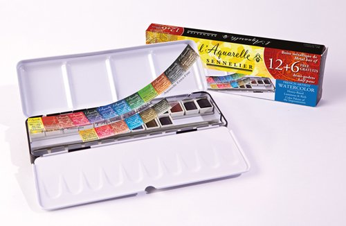 Sennelier L'Aquarelle French Watercolor Paint, Metal Set of 18 Half Pans