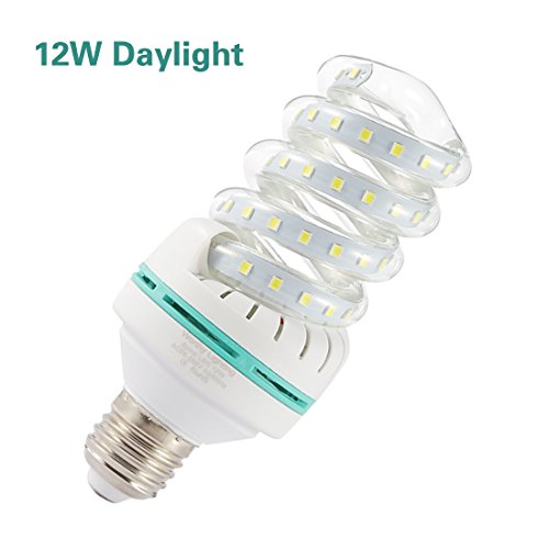 A19 Spiral LED Light Bulb, 100W Equivalent LED Bulb, 12W CFL Replacement Light Bulb, Daylight White 6000K, E26 Base, 1200 LM, Not-Dimmable,for Photo Light,Warehouse,Garage Lighting, Barn, Patio, etc.