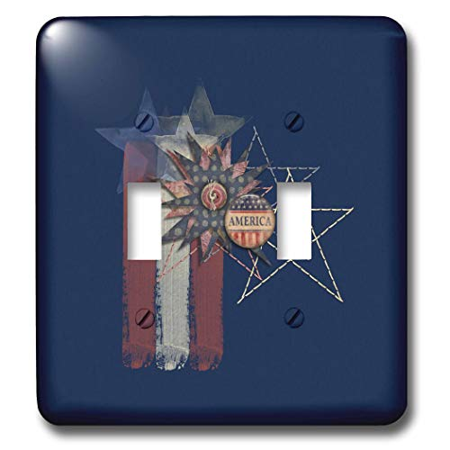 3dRose Beverly Turner Patriotic Design - Aged Colors Painted Look Stars, Stitches, America Button, Stripes - Light Switch Covers - double toggle switch (lsp_287048_2)