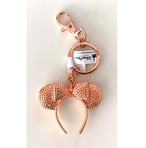 Disney Parks Minnie Mickey Mouse Rose Gold Headband Metal Keychain -
