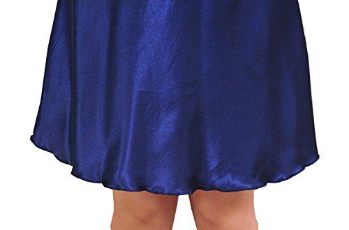 SexyTown Women's Satin Camisole Nightgown Classic Chemise Slip Sleepwear (X-Large, Dark Blue)