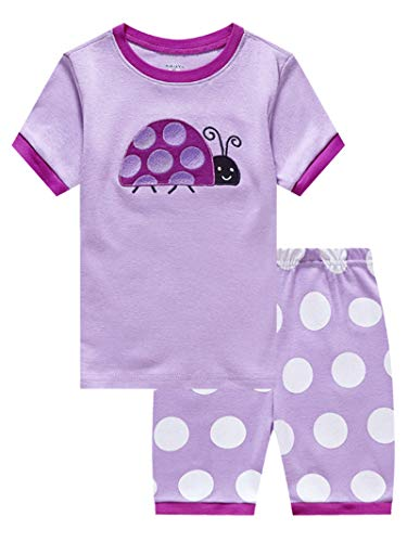 Ladybug Little Girls Short Sleeve Pajamas for Kids 100% Cotton Pjs Size -