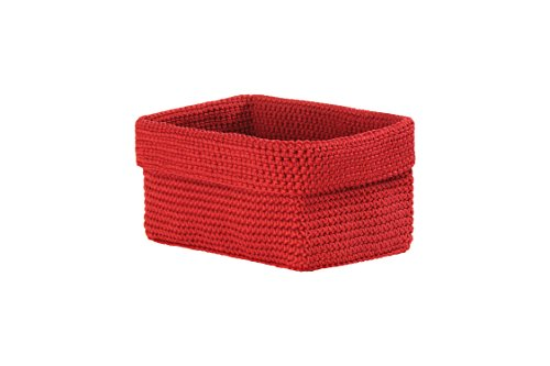 (Heritage Lace Mode Crochet Rectangle Basket, 8 by 5 by 6-Inch, Ruby Red)