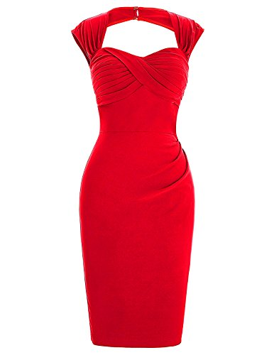 Women's 50s Knee-Length Cap Shoulder Cocktail Pencil Dresses Size 4 BP155-1
