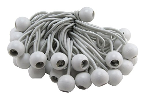 White Color Elitexion 100pcs 9 Bungee Ball Tarp Tie Down Cord