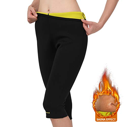 (Gowhods Women Weight Loss Sauna Pants - Efficient Burn More Calories, Reducing Cellulite, Increasing Perspiration, Smoother Skin, Comfortable Sweat Suit for Lifting, Yoga, Cross Fit Workouts - L)