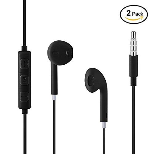 Wired Headphones, 2-Pack Earphones Headphones Stereo Headphones Microphones Earphones Microphones and Remote Control Apple iPhone Earphones (Black)