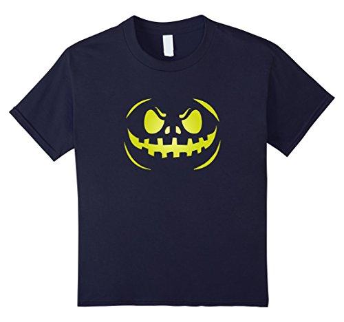 Neon Ninja Kids Costumes (Kids Carved Pumpkin Face Shirt Scary Halloween Neon Yellow Tee 12 Navy)