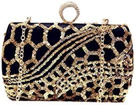 Sac de soirée d'embrayage Sacs à Main - Et European American New Gold Sequin Sac de soirée, Sac d'épaule, Parti Sac, Noir 18 * 8cm