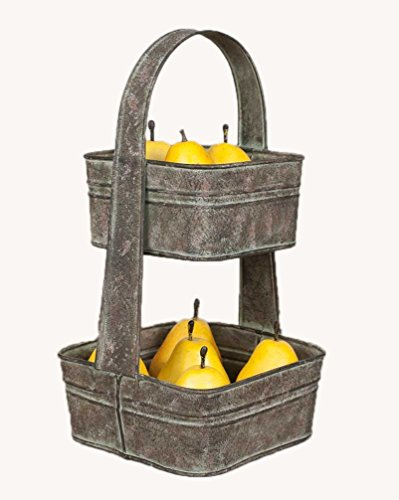 Two Tier Square Tote Fruit Bowl