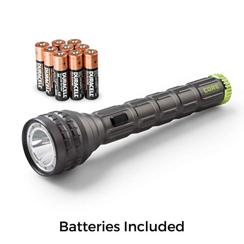 CORE Super Bright Flashlight, 1250 Lumens, IPX4 Water-Resistant, Aerospace-Grade Aluminum Body, CREE LED, AA Batteries Included, Spot, Flood, and Red Light Modes for Camping, Hiking, and Hunting