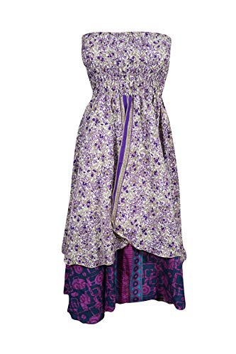 Womens Dress Strapless Recycle Silk Sari Printed Two Layer Beach Boho Dresses S/M Purple