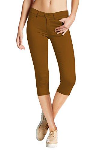 HyBrid & Company Women's Hyper Stretch Denim Capri Jeans Q44876 Tobacco L