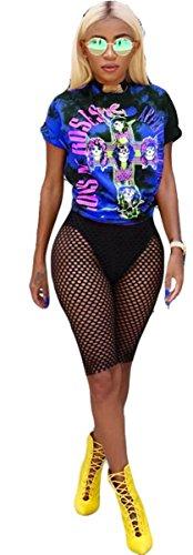 Womens Sexy 2 Pieces Printed Hip Hop Punk Prinetd T-Shirts Tops Bodycon Fishnet Shorts Party Clubwear Set (L, Blue)